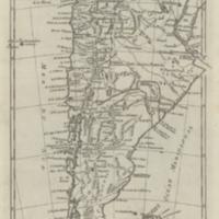 Carte du Chili, depuis le sud du Pérou jusqu'au Cap Horn avec partie des régions qui en sont a l'est