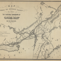 Map showing the different railways by which the eastern townships of Canada East may be reached