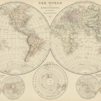 The world in hemispheres on various projections