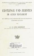 Erstlinge und Zehnten im Alten Testament