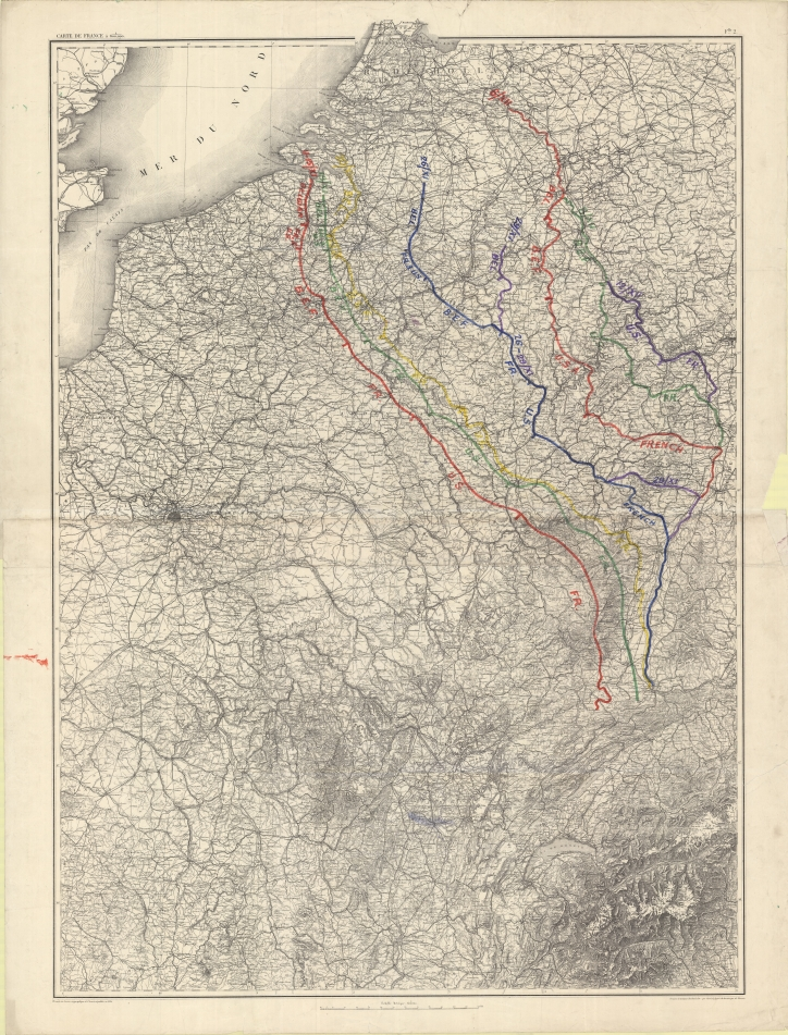 Carte de France à 1/600,000 : [historic map showing the advance of the victorious Allied armies, November - December 1918]