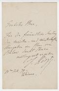 Letter, Franz Liszt to [Spitzweg]