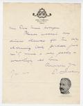 Letter, Emil Liebling to Miss Harrison