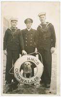 [1944], Postcard - Harry Pike and two sailors (plus dog) of the HMCS Cornwallis