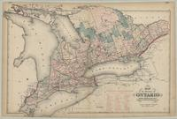 Map of the Province of Ontario shewing counties, electoral districts, townships, railways, etc.