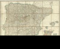 Mapa general de España dividido en sus actuales provincias, islas adyacentes, y reyno de Portugal