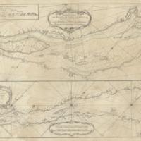 Carte du cours du fleuve de Saint Laurent depuis Quebec jusqu'a la mer en deux feuilles....