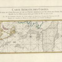 Carte réduite, des Costes de l'Acadie, de l'Isle Royale, et de la partie meridionale de l'Isle de Terre-Neuve