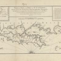 Plan de l'isle et du port de Ste. Catherine, située en la côte du Bresil et dans les possessions portugaises