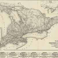 Map of the Province of Ontario, showing railways now running, published in the Canadian Almanac, 1884