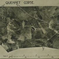Aerial photo, World War, 1914-1918; Quennet copse; Claymore valley; Gillemont farm; Malakoff farm; Dirk valley; Bony; Hargicourt.. September, 1917.