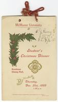 Programmes and Ephemera: Student's Christmas Dinner Programme, 1899