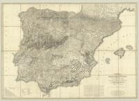 A new map of Spain and Portugal, exhibiting the chains of mountains with their passes, the principal & cross roads...
