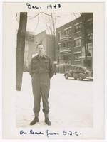 1943-12, Stuart Ivison on leave from O.T.C. [Officers' Training Centre], Ottawa, Ontario