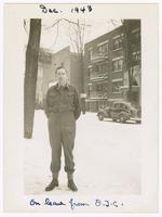 1943-12, Stuart Ivison on leave from O.T.C. [Officers' Training Centre], Ottawa, Ontario
