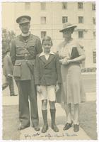 1942-07, Stuart and Marjorie Ivison with son [Duncan?] after Church Parade