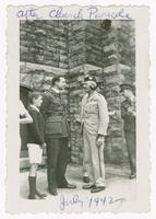 1942-07, Stuart Ivison with son [Duncan?], after Church Parade