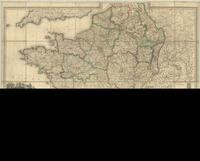 Carte itineraire de la France donnant toutes les routes de postes, les lieux de relais, les routes des messageries et autres