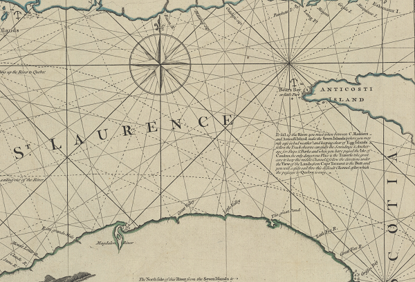 An exact chart of the River St. Laurence... by Thomas Jefferys (1 map on 2 sheets)